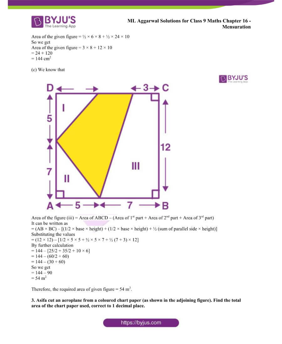 ML Aggarwal Solutions for Class 9 Maths Chapter 16 Mensuration 135