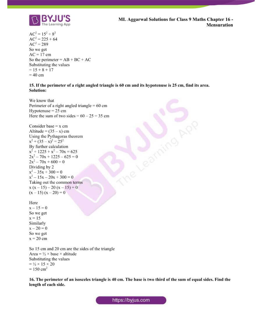 ML Aggarwal Solutions for Class 9 Maths Chapter 16 Mensuration 14