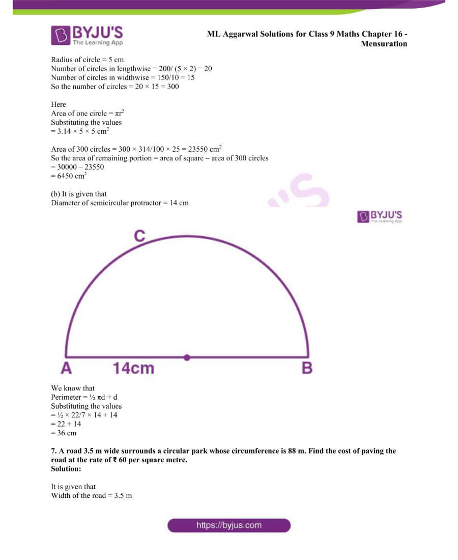 ML Aggarwal Solutions for Class 9 Maths Chapter 16 Mensuration 141