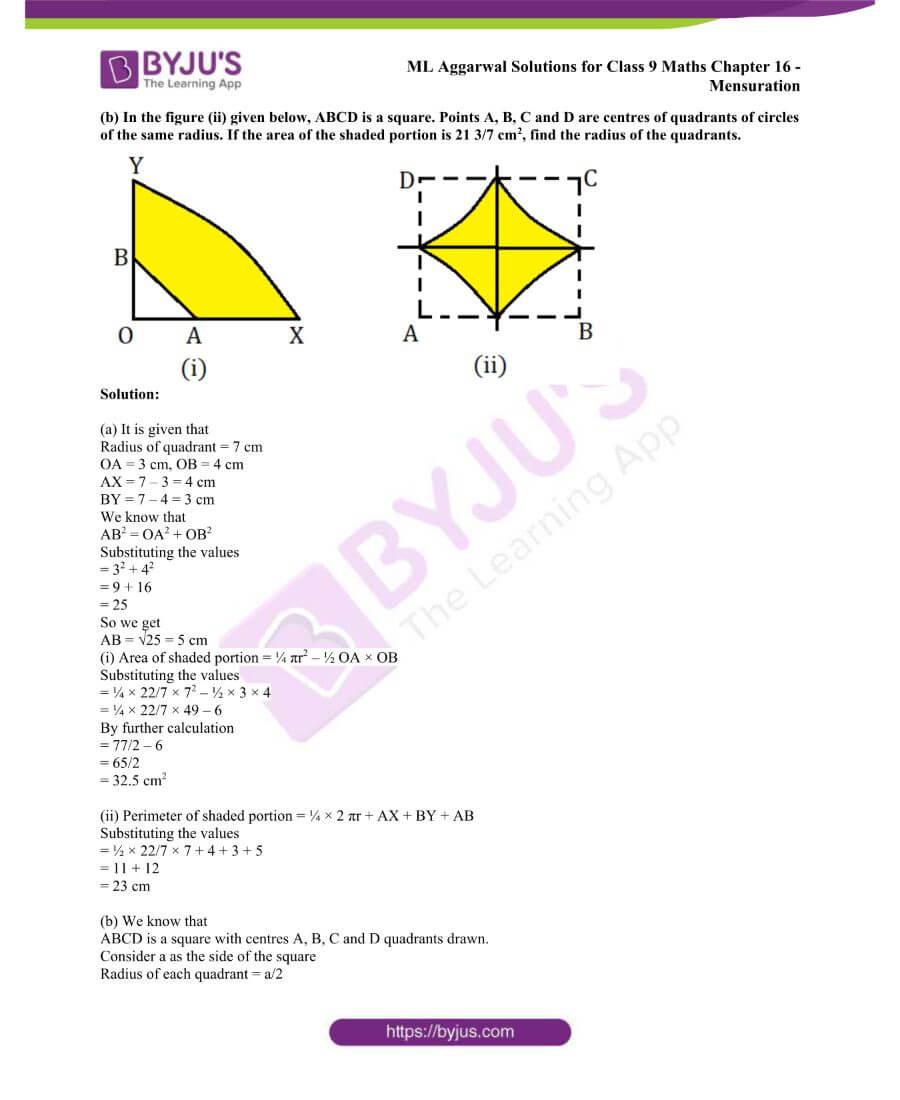 ML Aggarwal Solutions for Class 9 Maths Chapter 16 Mensuration 147