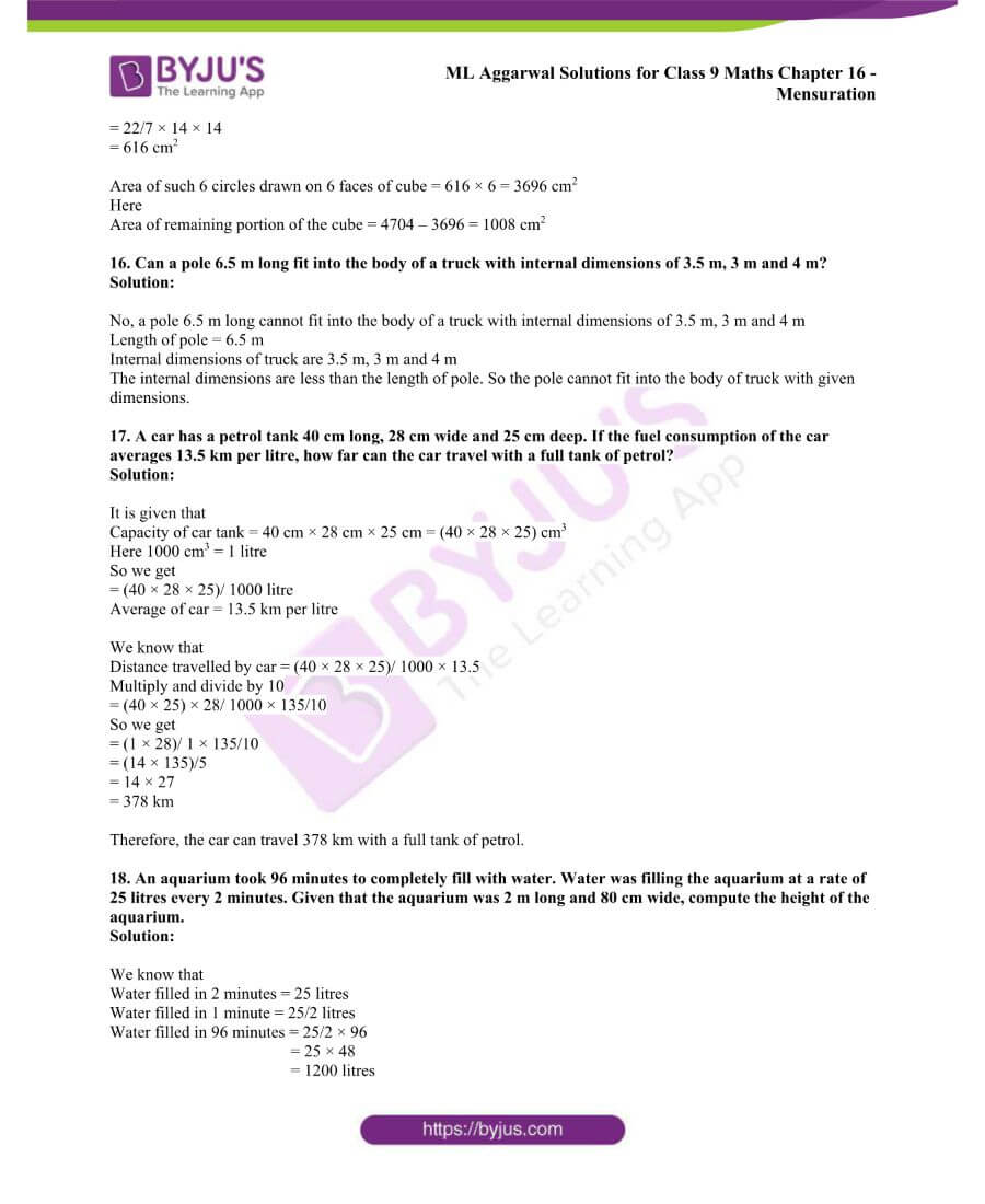 ML Aggarwal Solutions for Class 9 Maths Chapter 16 Mensuration 151
