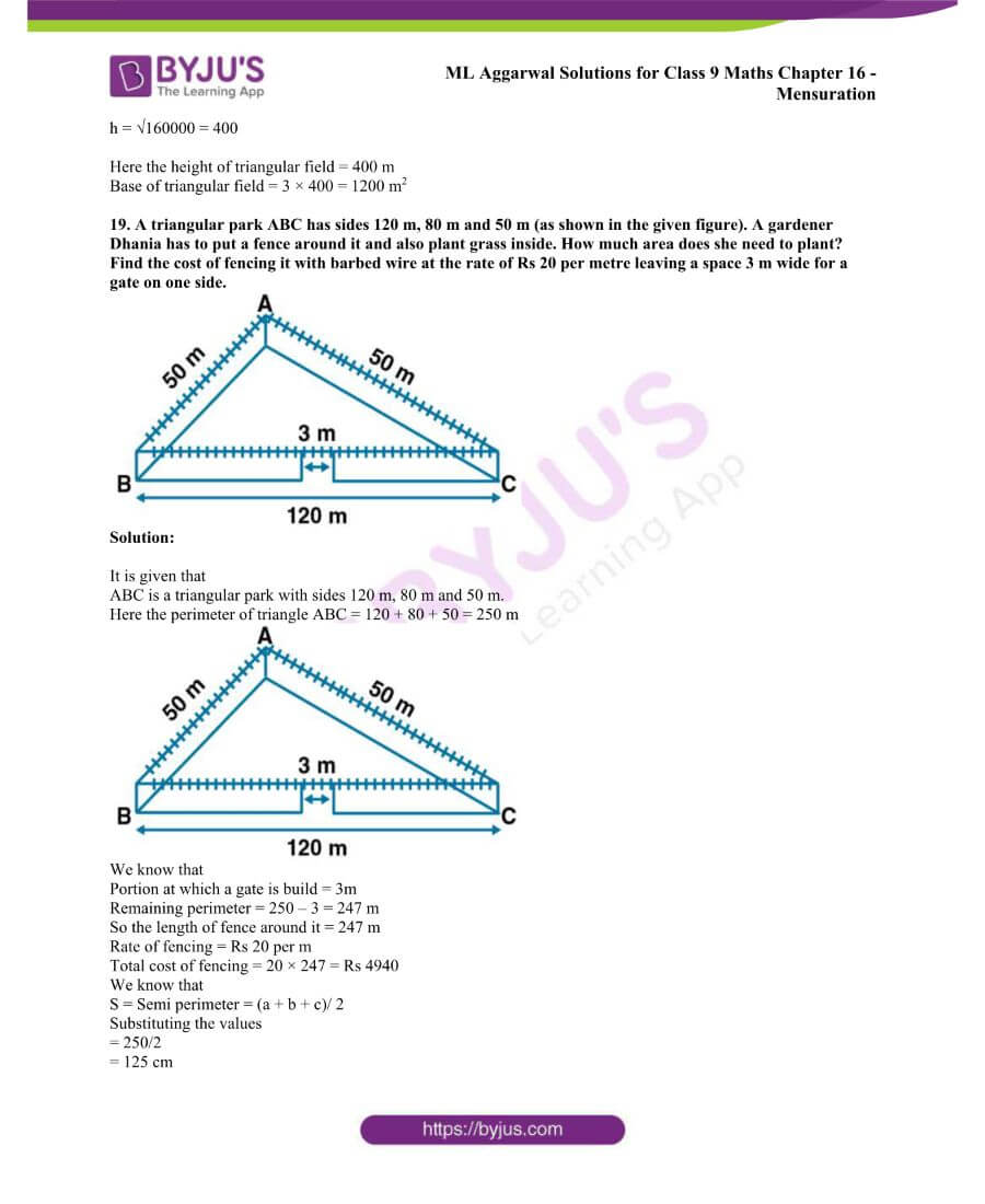ML Aggarwal Solutions for Class 9 Maths Chapter 16 Mensuration 17