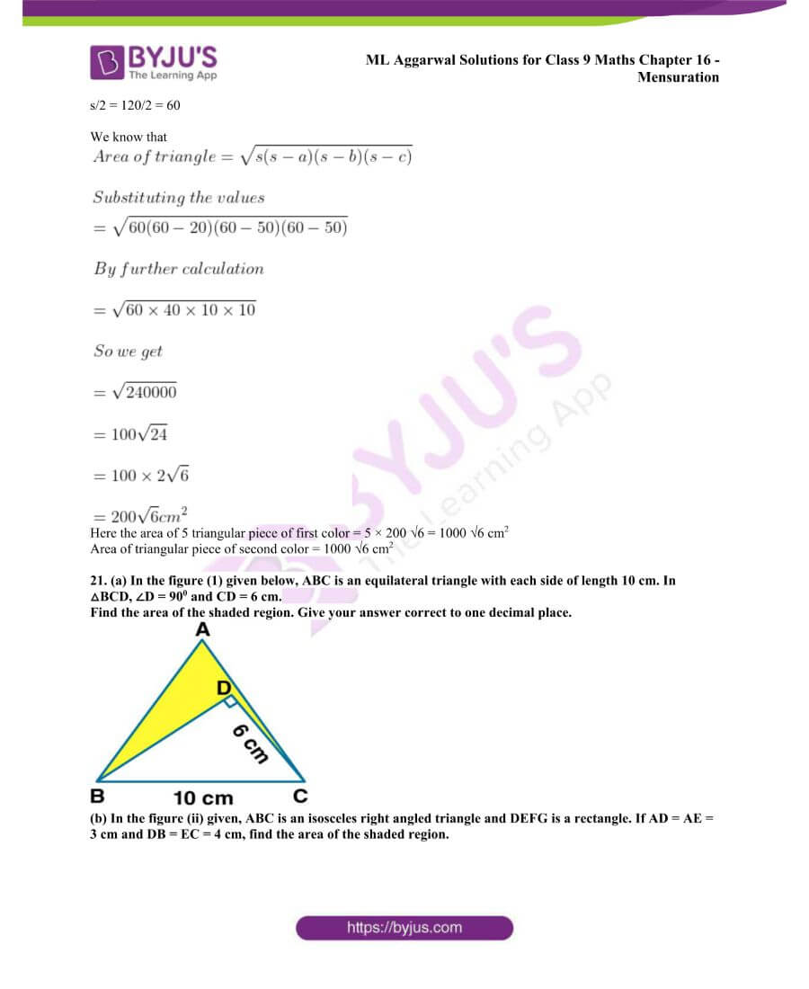 ML Aggarwal Solutions for Class 9 Maths Chapter 16 Mensuration 19