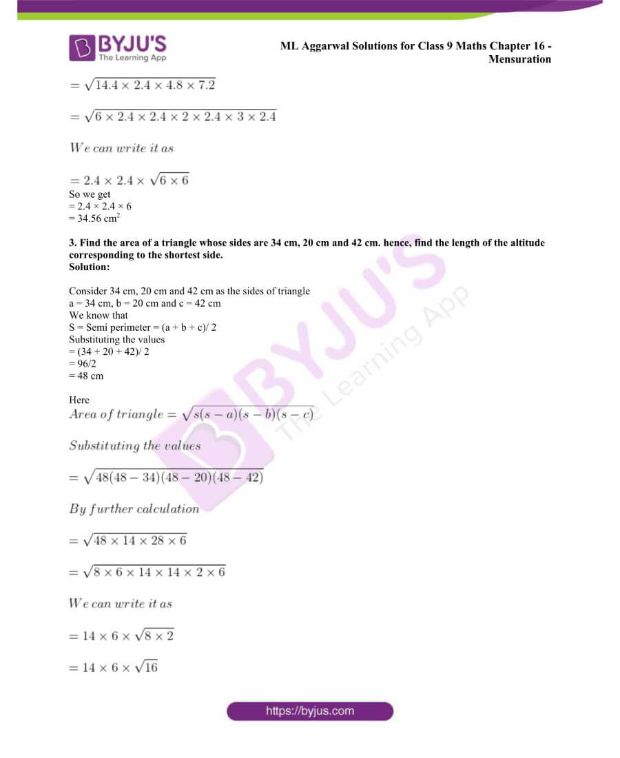 ML Aggarwal Solutions for Class 9 Maths Chapter 16 Mensuration 2