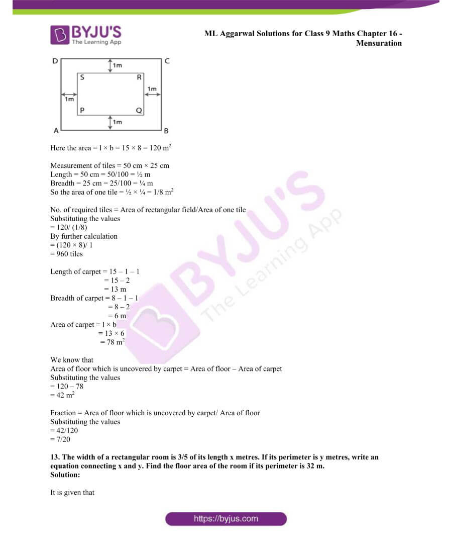 ML Aggarwal Solutions for Class 9 Maths Chapter 16 Mensuration 34