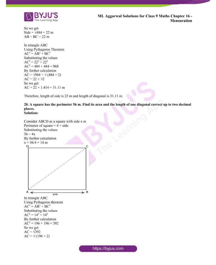 ML Aggarwal Solutions for Class 9 Maths Chapter 16 Mensuration 42