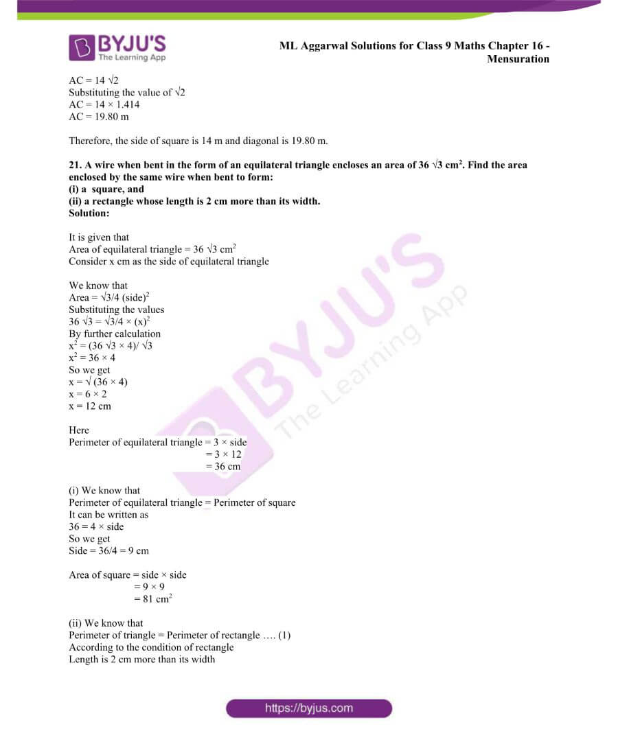 ML Aggarwal Solutions for Class 9 Maths Chapter 16 Mensuration 43