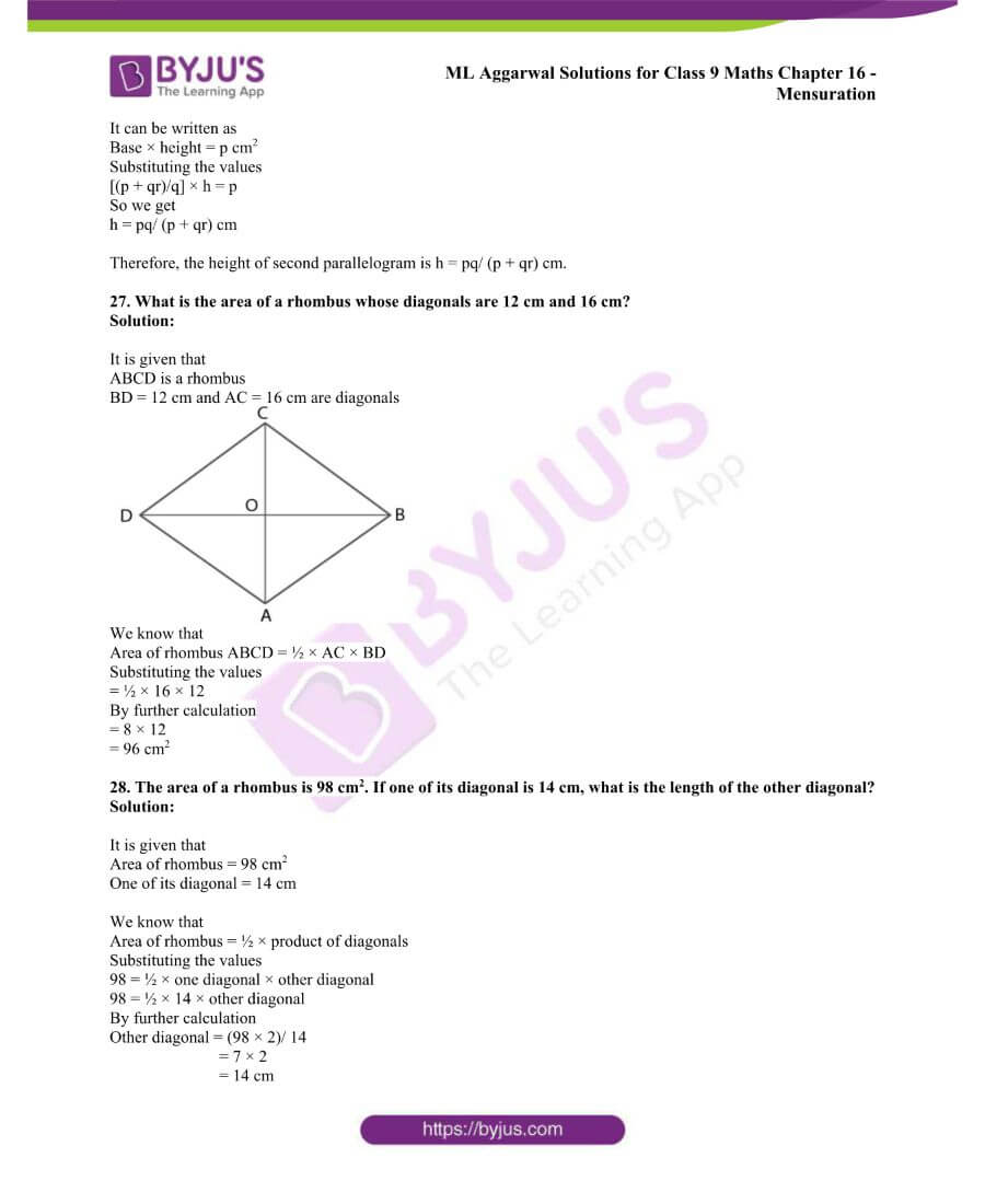 ML Aggarwal Solutions for Class 9 Maths Chapter 16 Mensuration 49