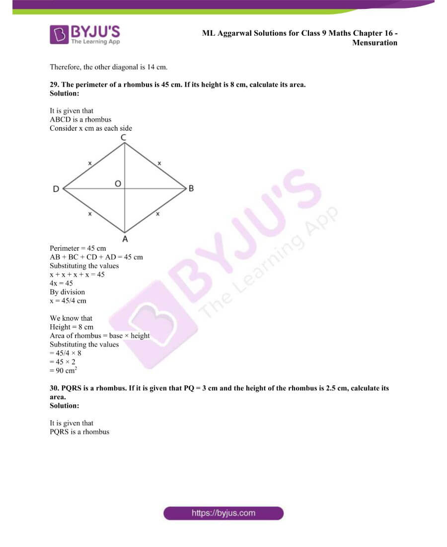 ML Aggarwal Solutions for Class 9 Maths Chapter 16 Mensuration 50