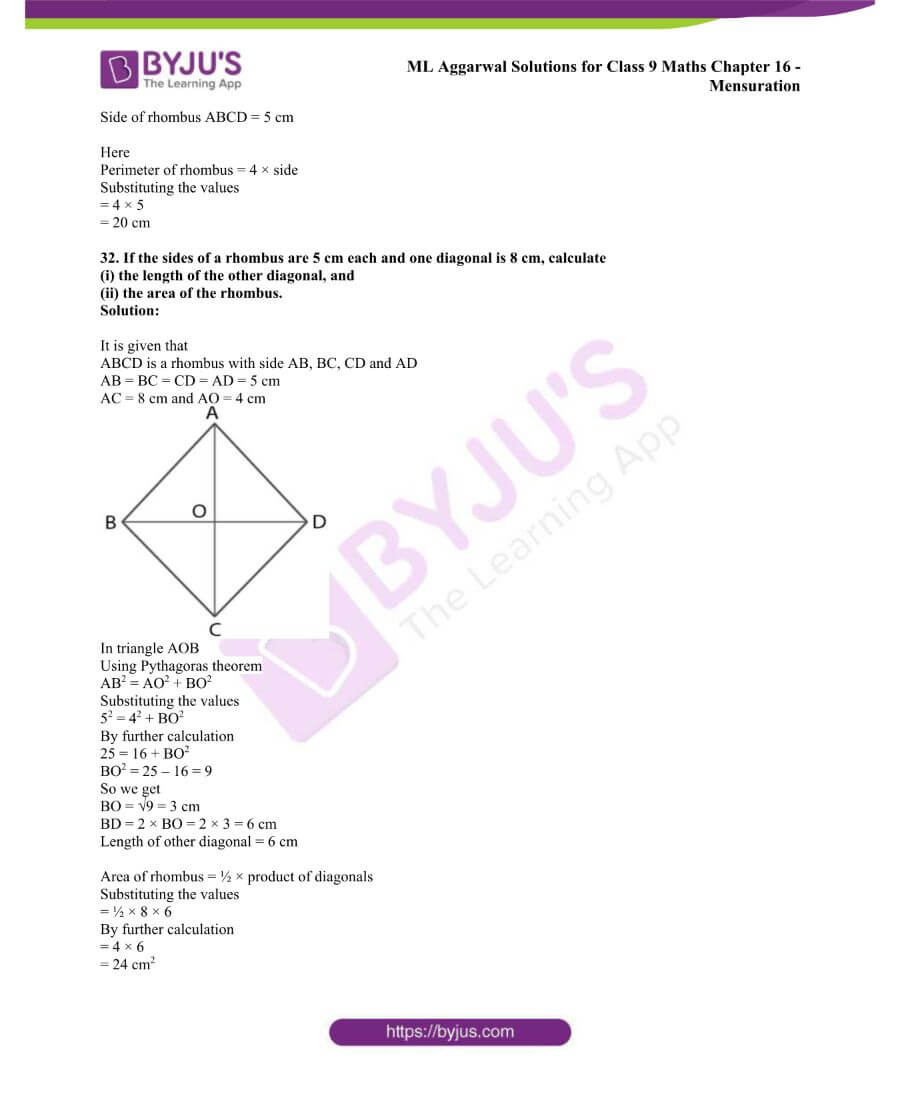 ML Aggarwal Solutions for Class 9 Maths Chapter 16 Mensuration 52