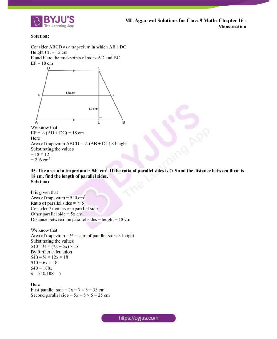 ML Aggarwal Solutions for Class 9 Maths Chapter 16 Mensuration 56
