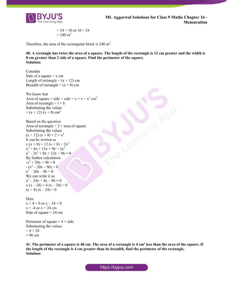 ML Aggarwal Solutions for Class 9 Maths Chapter 16 Mensuration 61