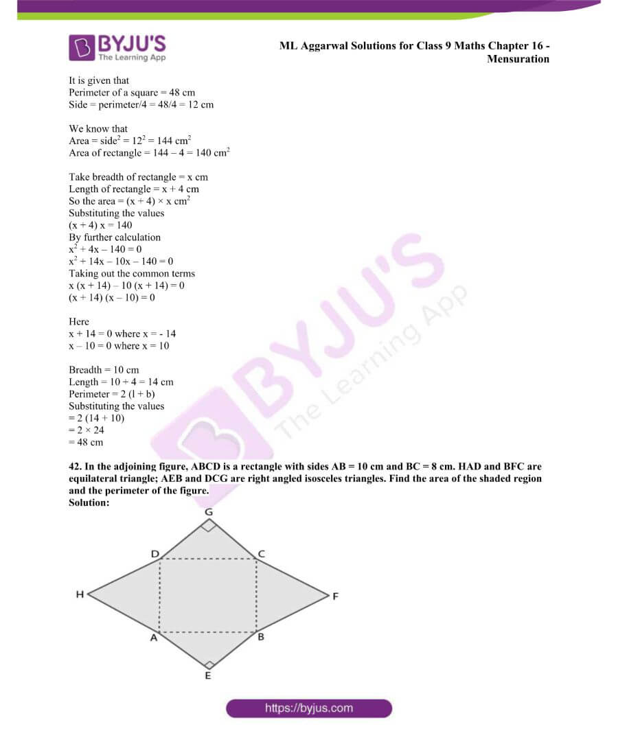 ML Aggarwal Solutions for Class 9 Maths Chapter 16 Mensuration 62