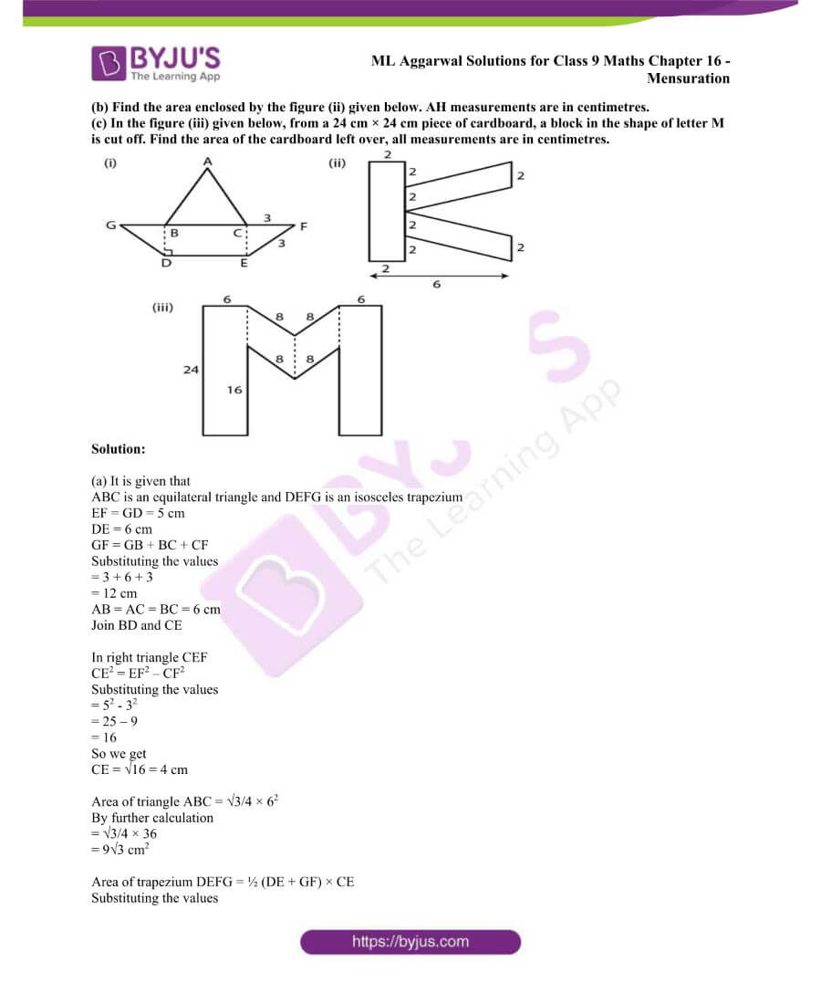 ML Aggarwal Solutions for Class 9 Maths Chapter 16 Mensuration 64