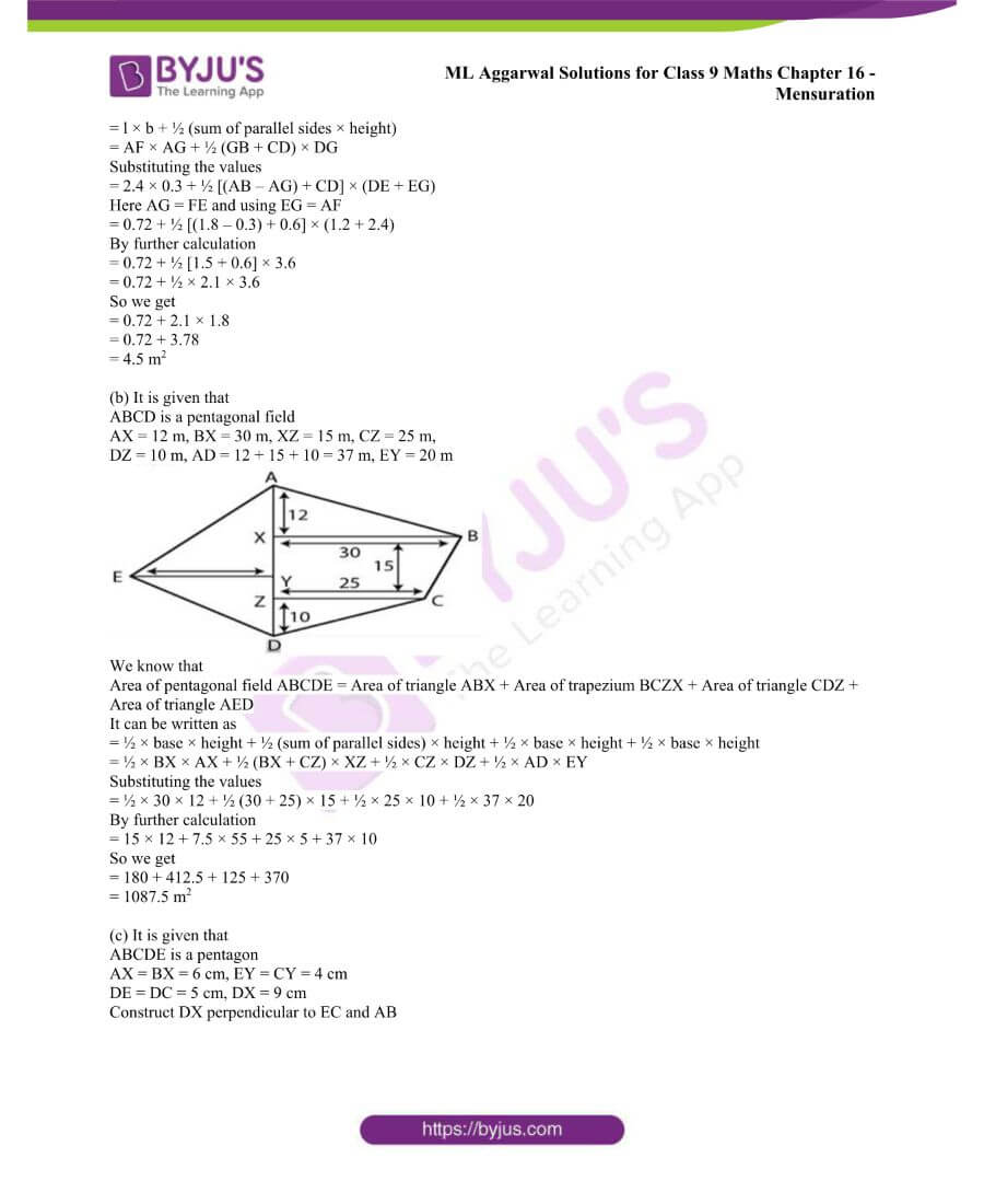 ML Aggarwal Solutions for Class 9 Maths Chapter 16 Mensuration 67