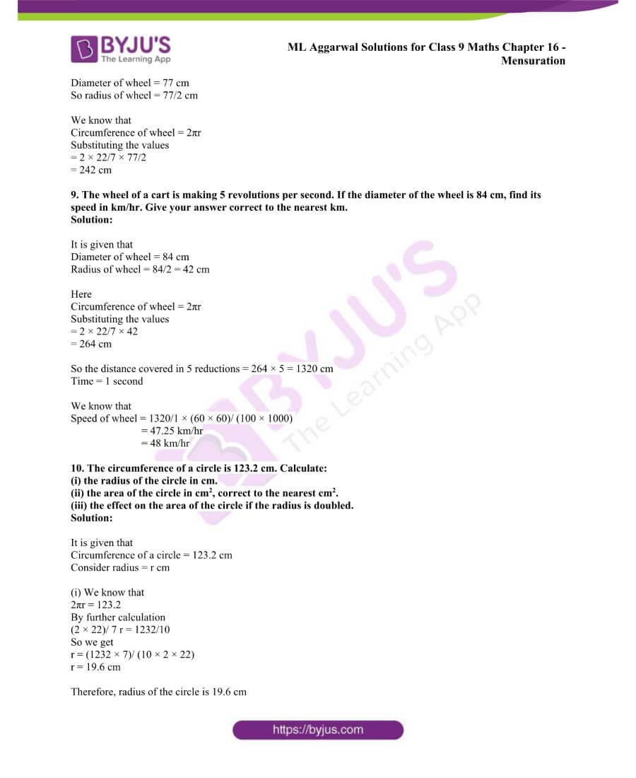 ML Aggarwal Solutions for Class 9 Maths Chapter 16 Mensuration 77