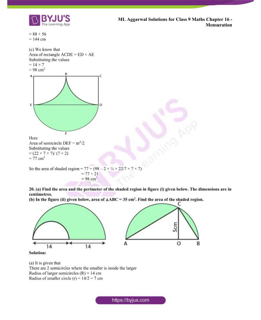 ML Aggarwal Solutions for Class 9 Maths Chapter 16 Mensuration 86