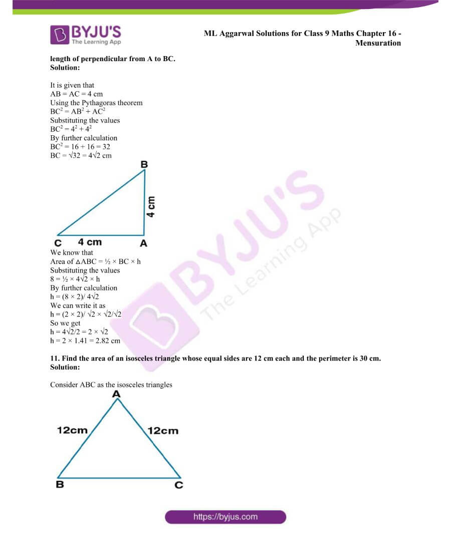 ML Aggarwal Solutions for Class 9 Maths Chapter 16 Mensuration 9