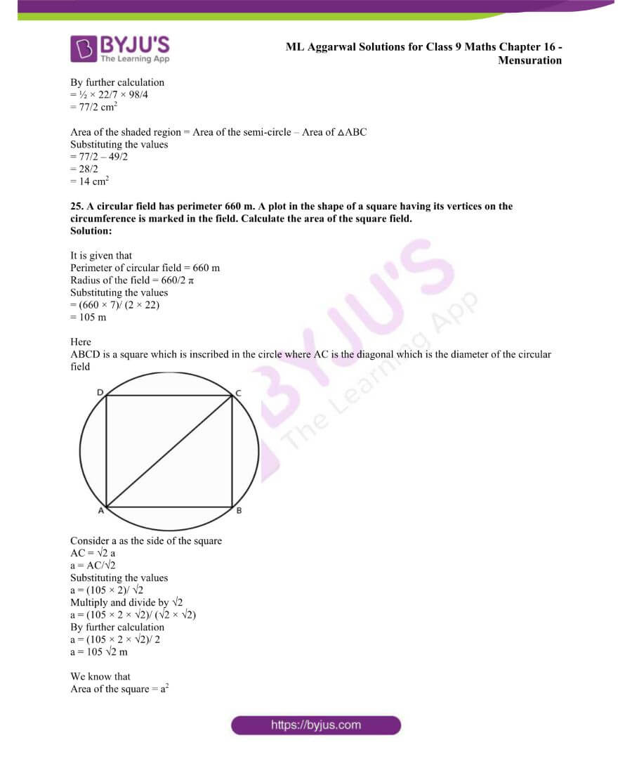 ML Aggarwal Solutions for Class 9 Maths Chapter 16 Mensuration 92