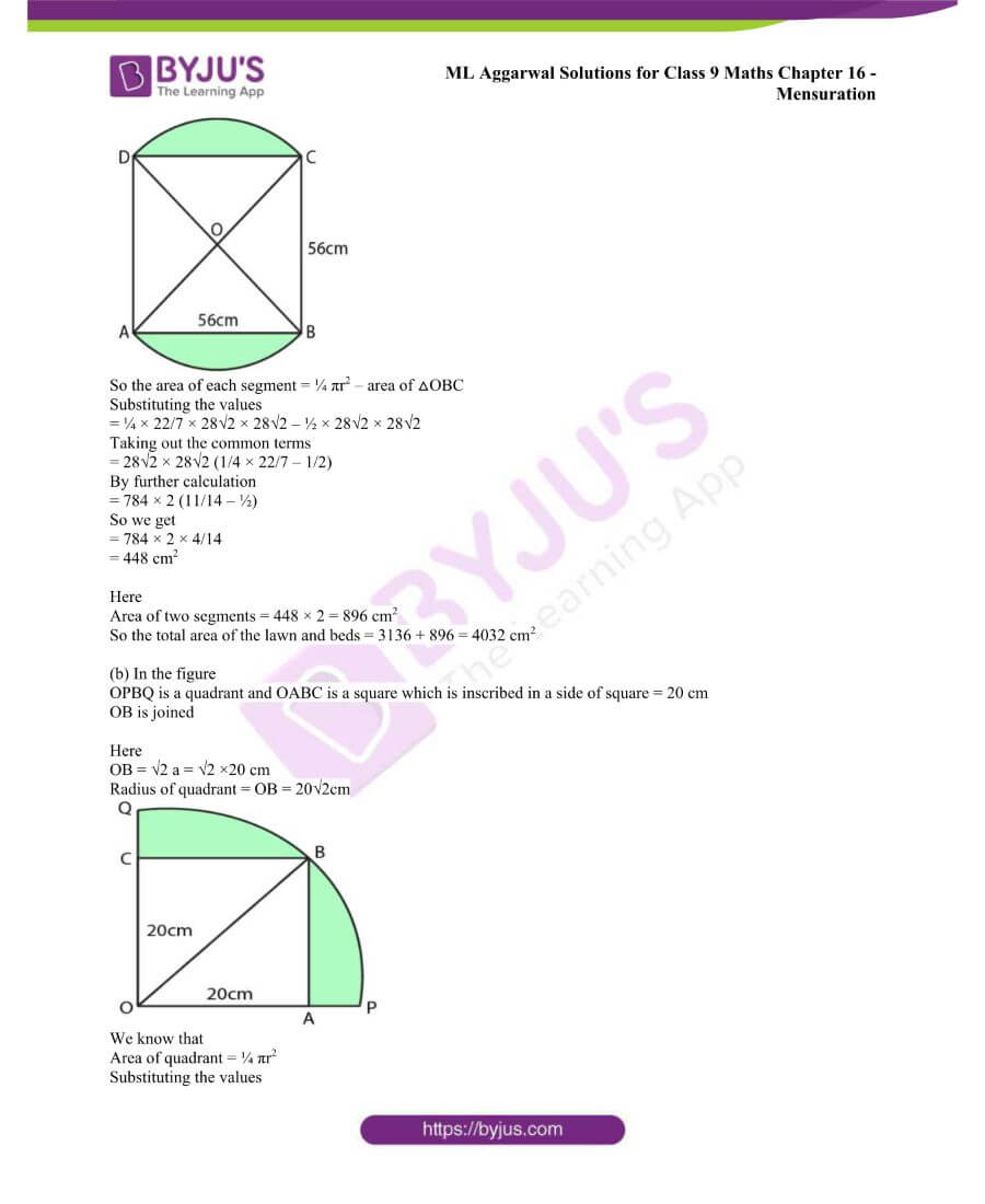ML Aggarwal Solutions for Class 9 Maths Chapter 16 Mensuration 99