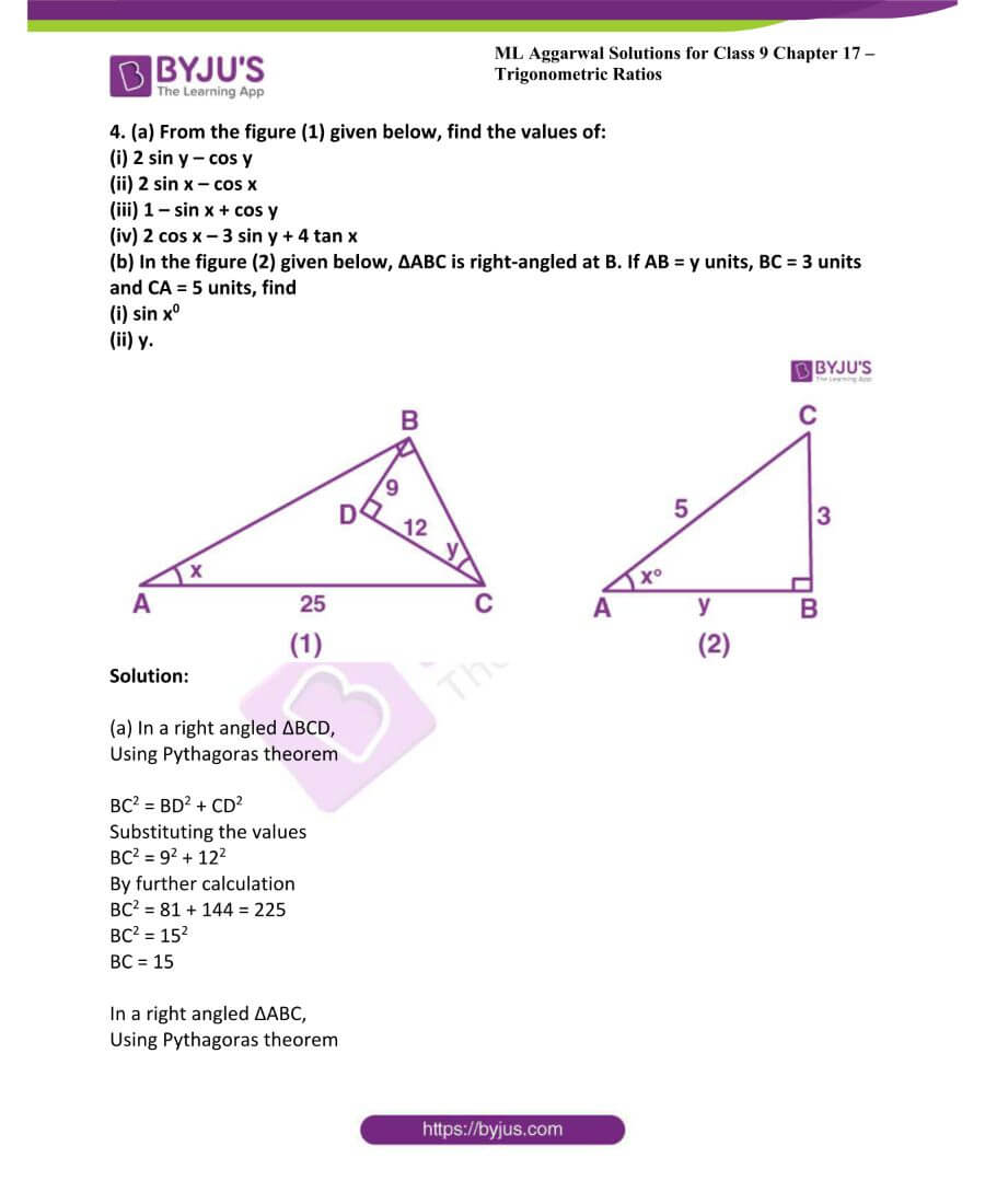 ML Aggarwal Solutions for Class 9 Maths Chapter 17 Trigonometric Ratios 10