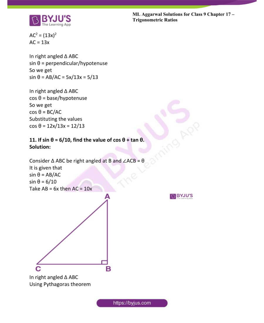 ML Aggarwal Solutions for Class 9 Maths Chapter 17 Trigonometric Ratios 25