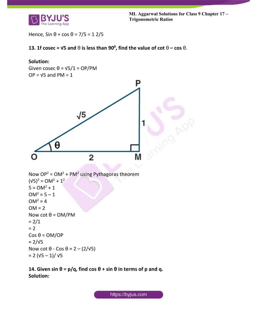 ML Aggarwal Solutions for Class 9 Maths Chapter 17 Trigonometric Ratios 28