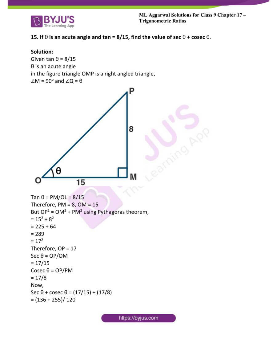ML Aggarwal Solutions for Class 9 Maths Chapter 17 Trigonometric Ratios 30