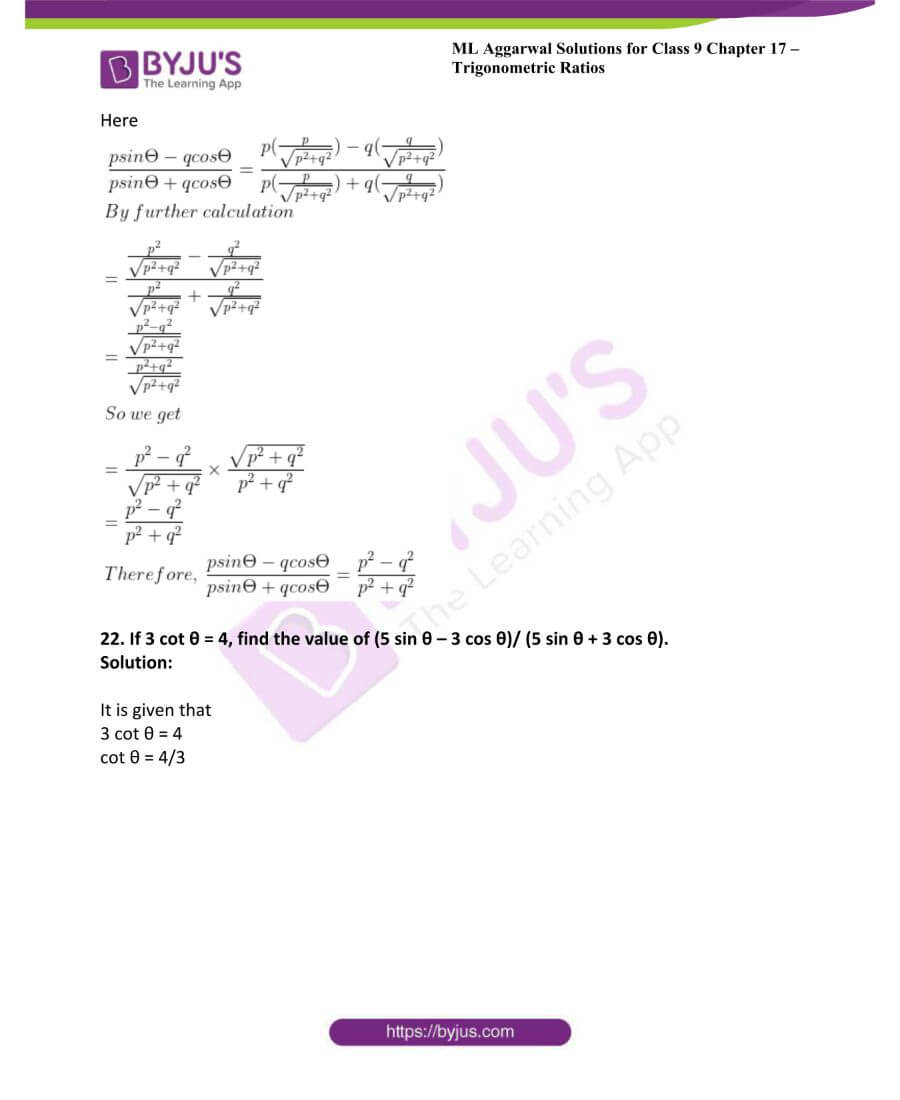 ML Aggarwal Solutions for Class 9 Maths Chapter 17 Trigonometric Ratios 39