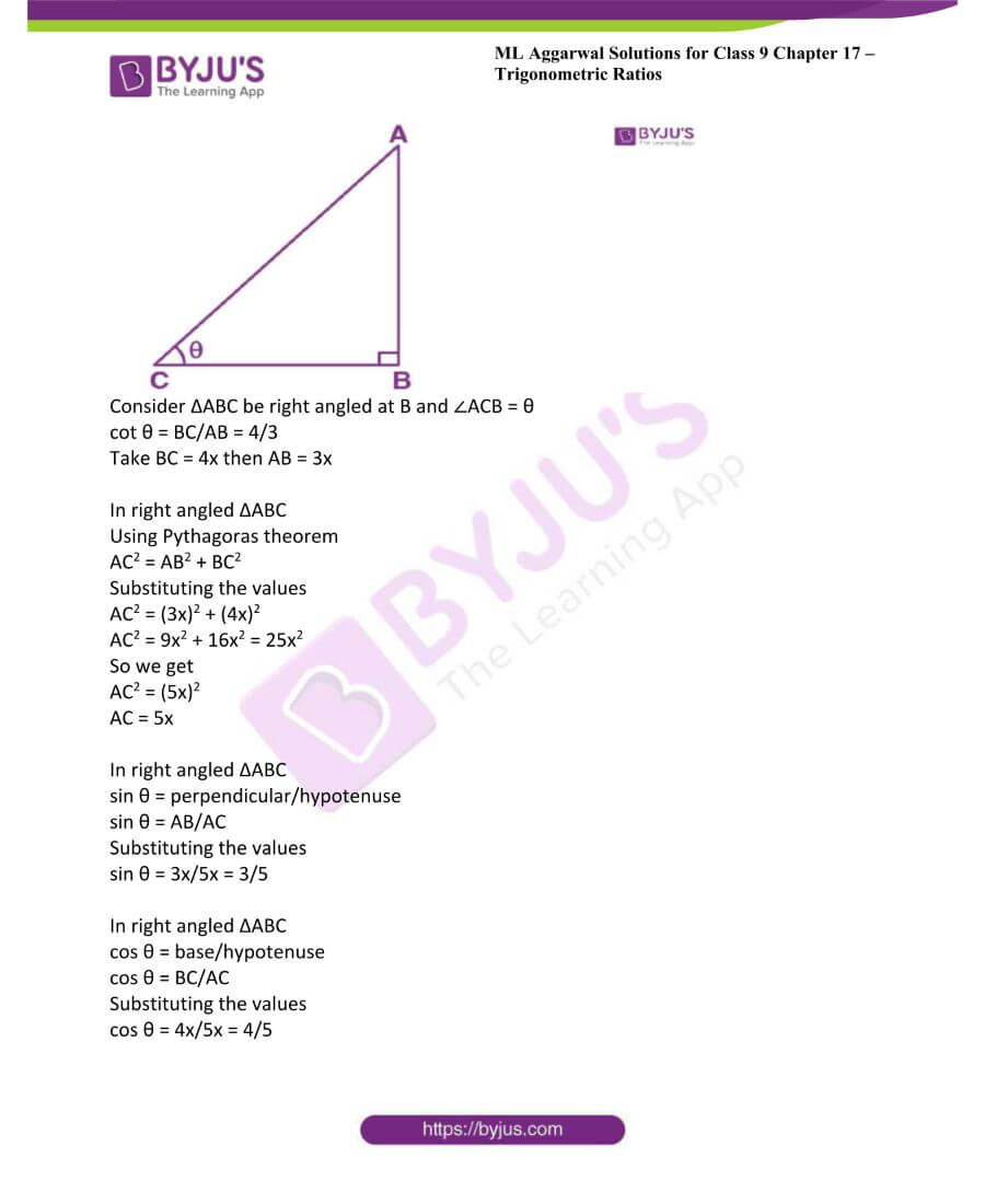 ML Aggarwal Solutions for Class 9 Maths Chapter 17 Trigonometric Ratios 40