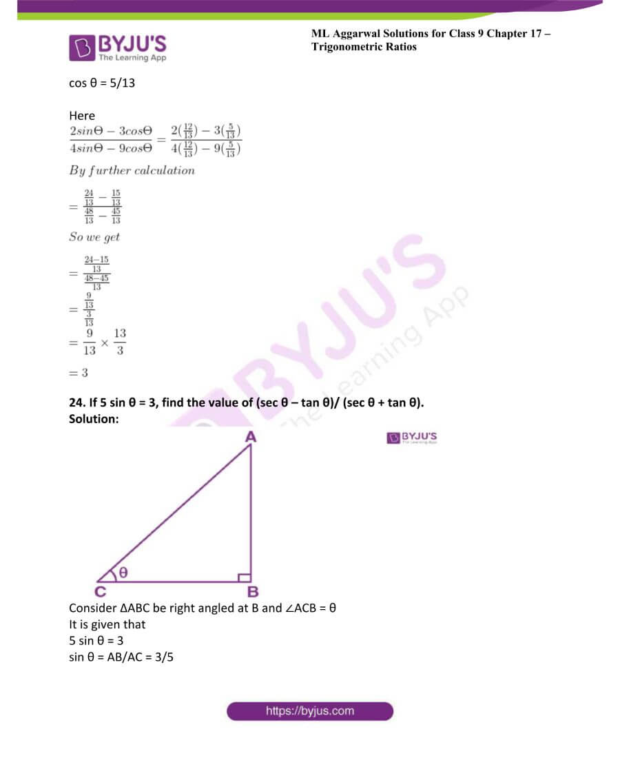 ML Aggarwal Solutions for Class 9 Maths Chapter 17 Trigonometric Ratios 43