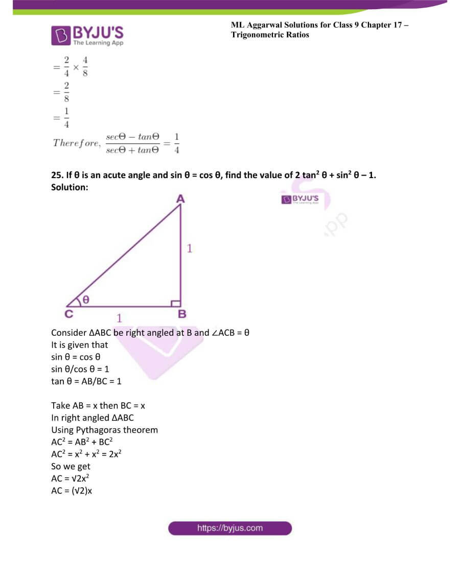 ML Aggarwal Solutions for Class 9 Maths Chapter 17 Trigonometric Ratios 45