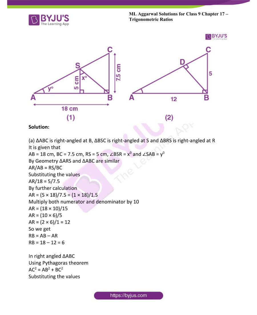 ML Aggarwal Solutions for Class 9 Maths Chapter 17 Trigonometric Ratios 49