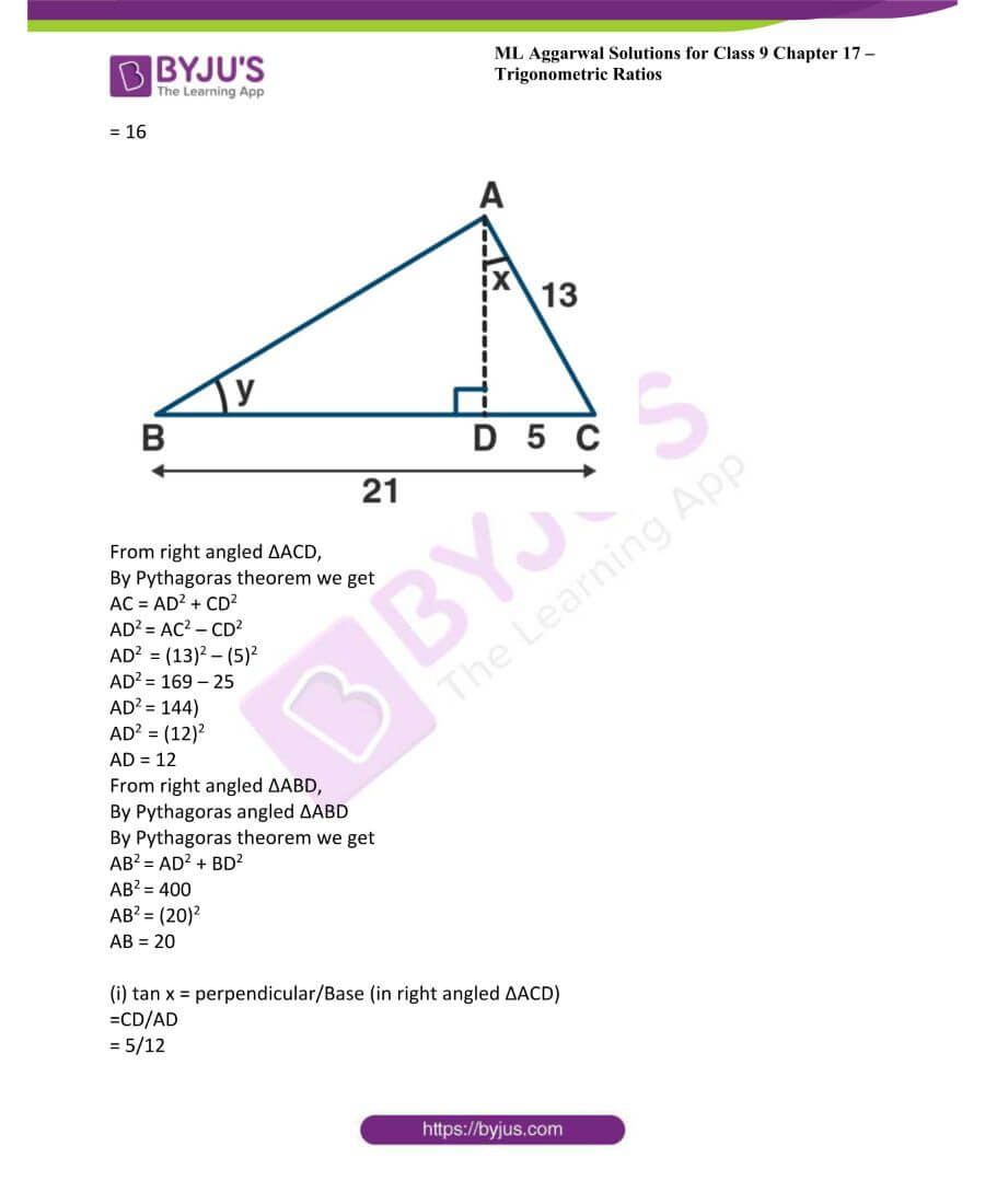 ML Aggarwal Solutions for Class 9 Maths Chapter 17 Trigonometric Ratios 5