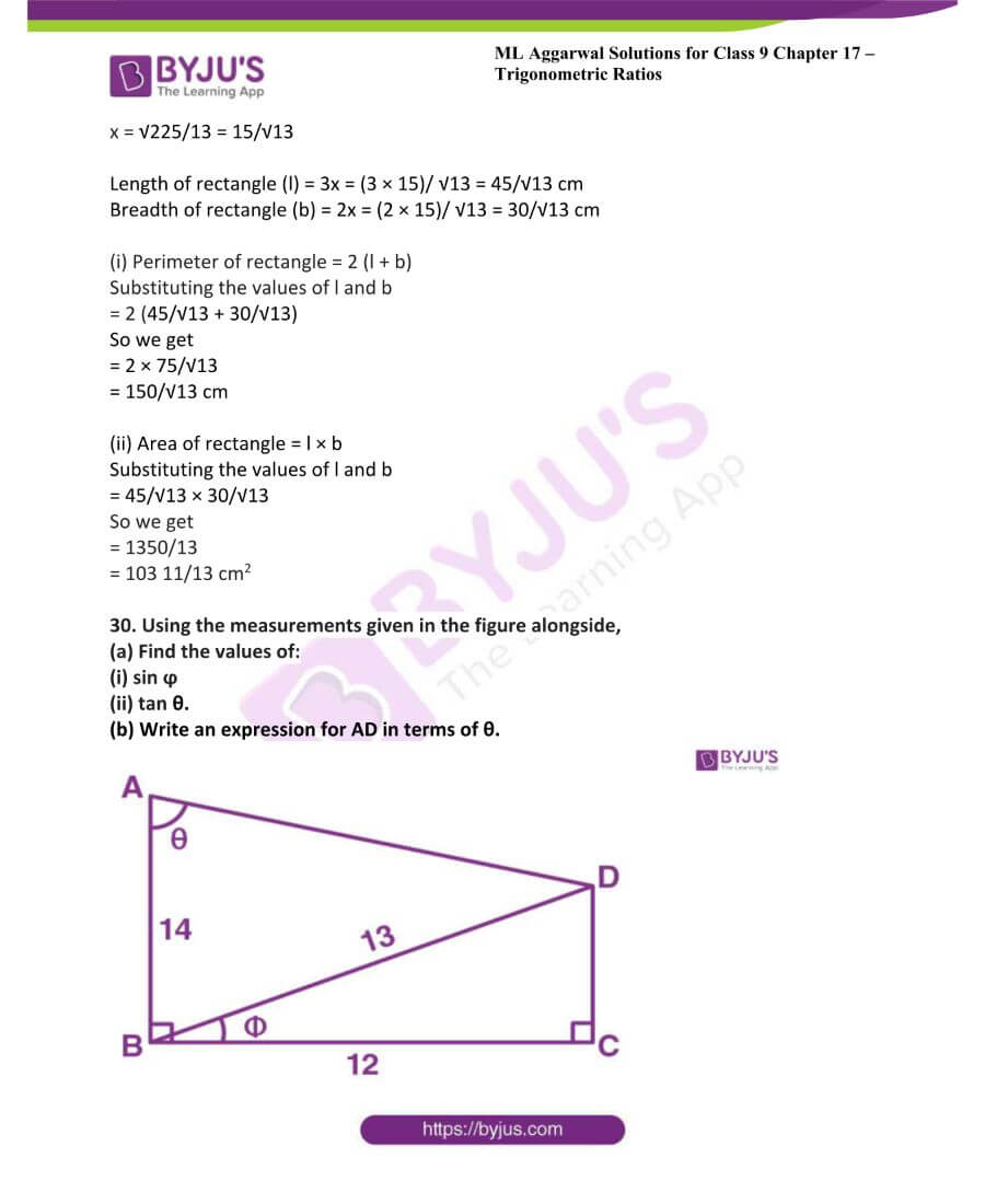 ML Aggarwal Solutions for Class 9 Maths Chapter 17 Trigonometric Ratios 52