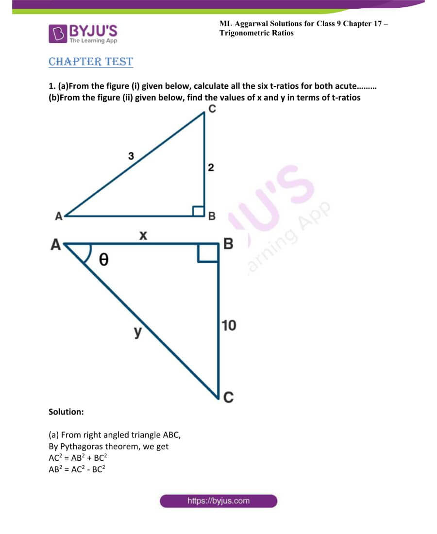 ML Aggarwal Solutions for Class 9 Maths Chapter 17 Trigonometric Ratios 58