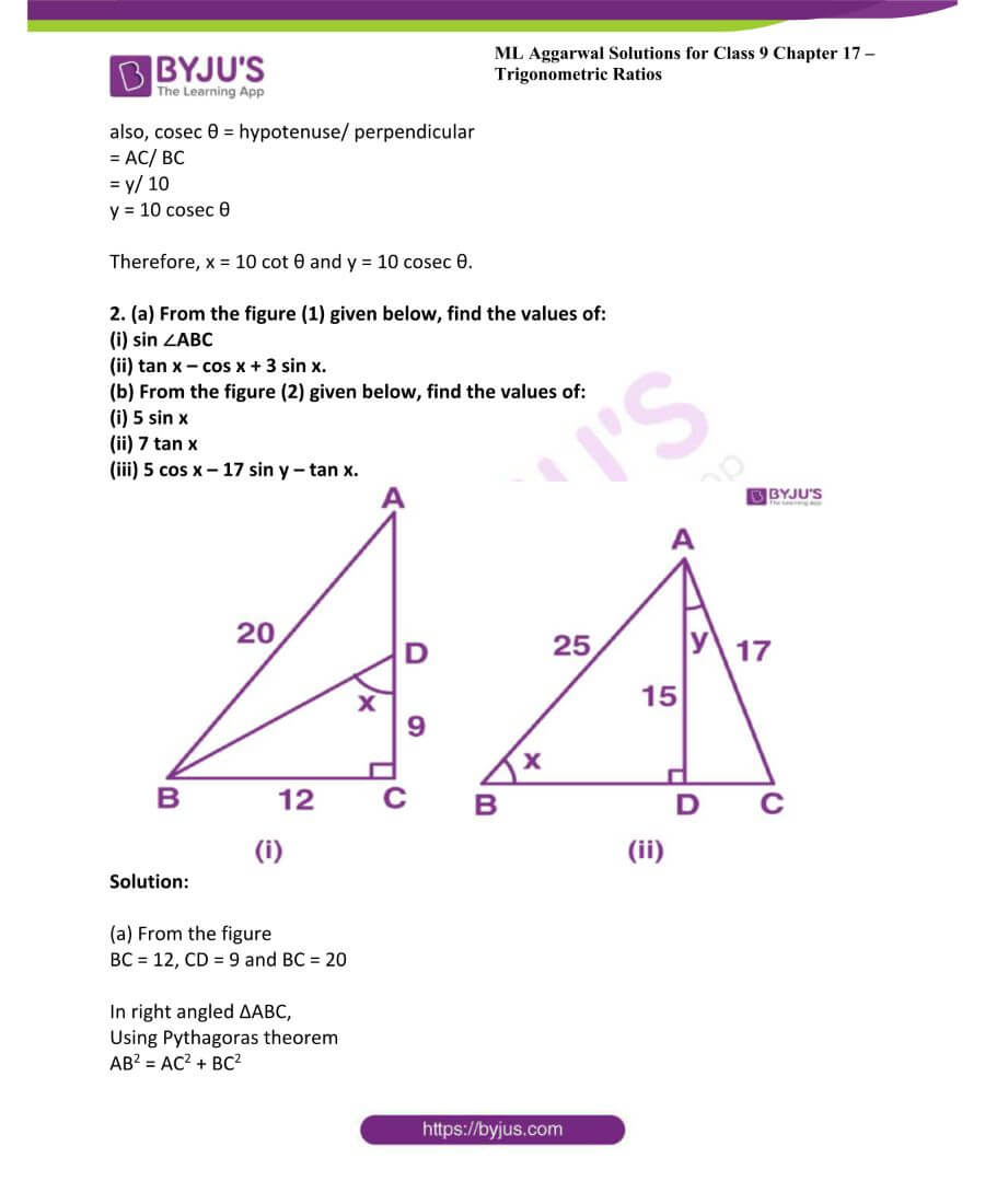 ML Aggarwal Solutions for Class 9 Maths Chapter 17 Trigonometric Ratios 60