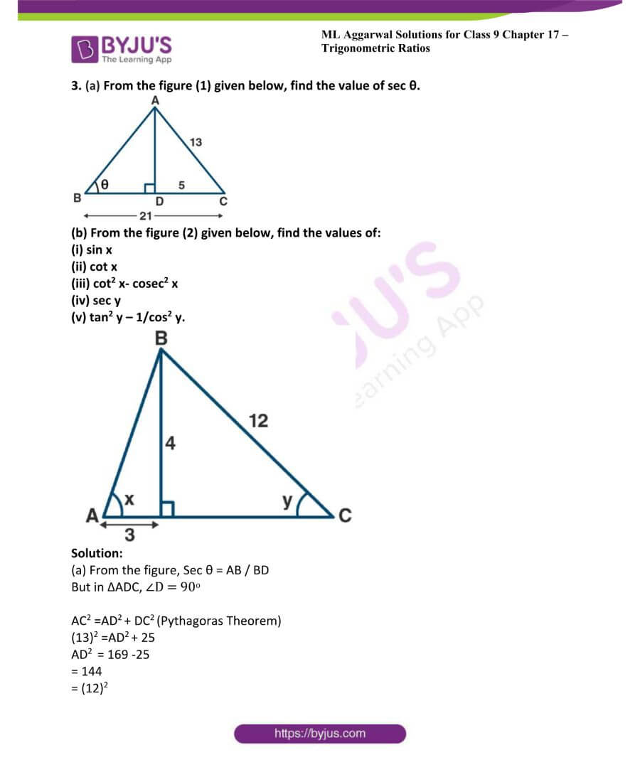 ML Aggarwal Solutions for Class 9 Maths Chapter 17 Trigonometric Ratios 7