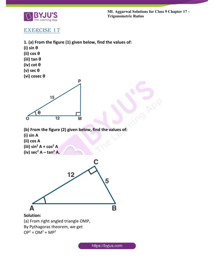 ML Aggarwal Solutions for Class 9 Maths Chapter 17 Trigonometric Ratios