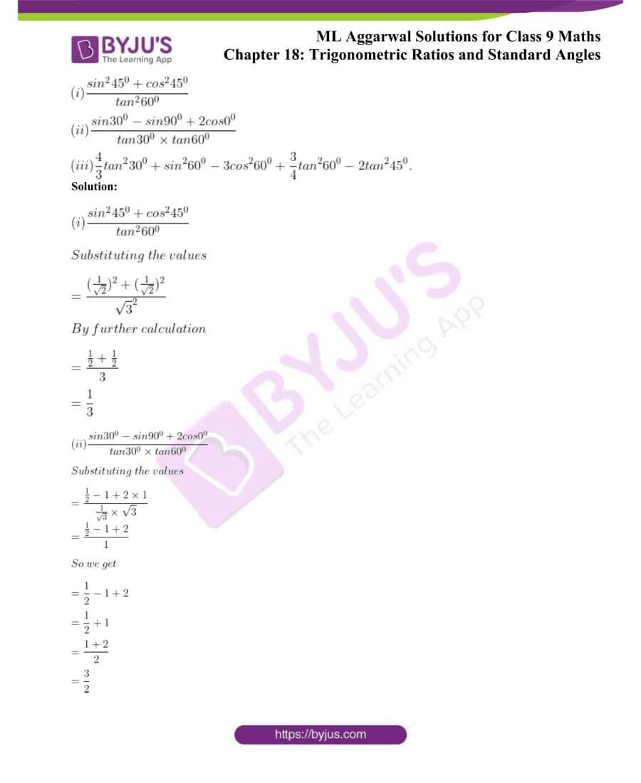 ML Aggarwal Solutions for Class 9 Maths Chapter 18 TR and Standard Angles 1