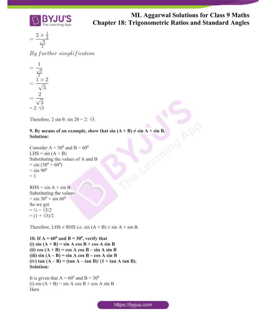 ML Aggarwal Solutions for Class 9 Maths Chapter 18 TR and Standard Angles 10