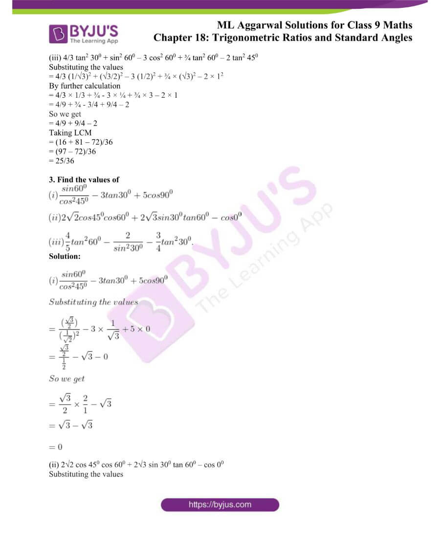 ML Aggarwal Solutions for Class 9 Maths Chapter 18 TR and Standard Angles 2