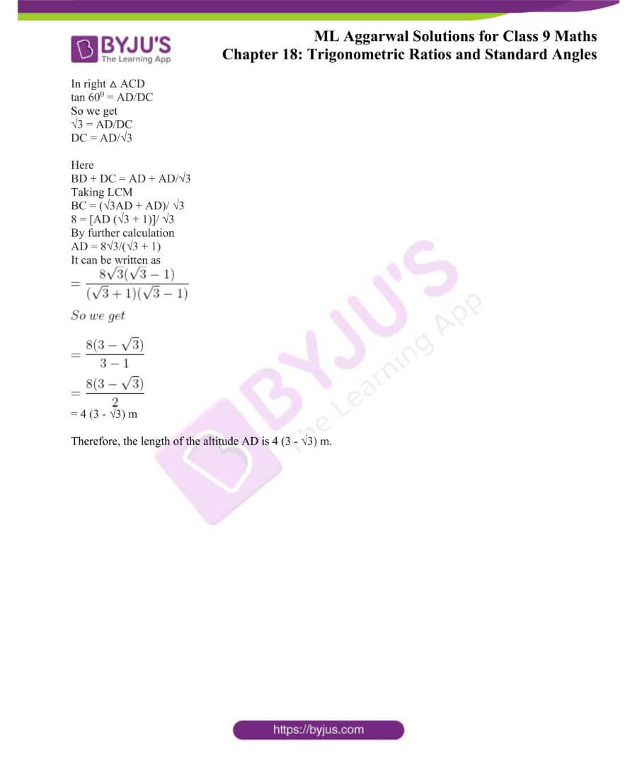 ML Aggarwal Solutions for Class 9 Maths Chapter 18 TR and Standard Angles 23