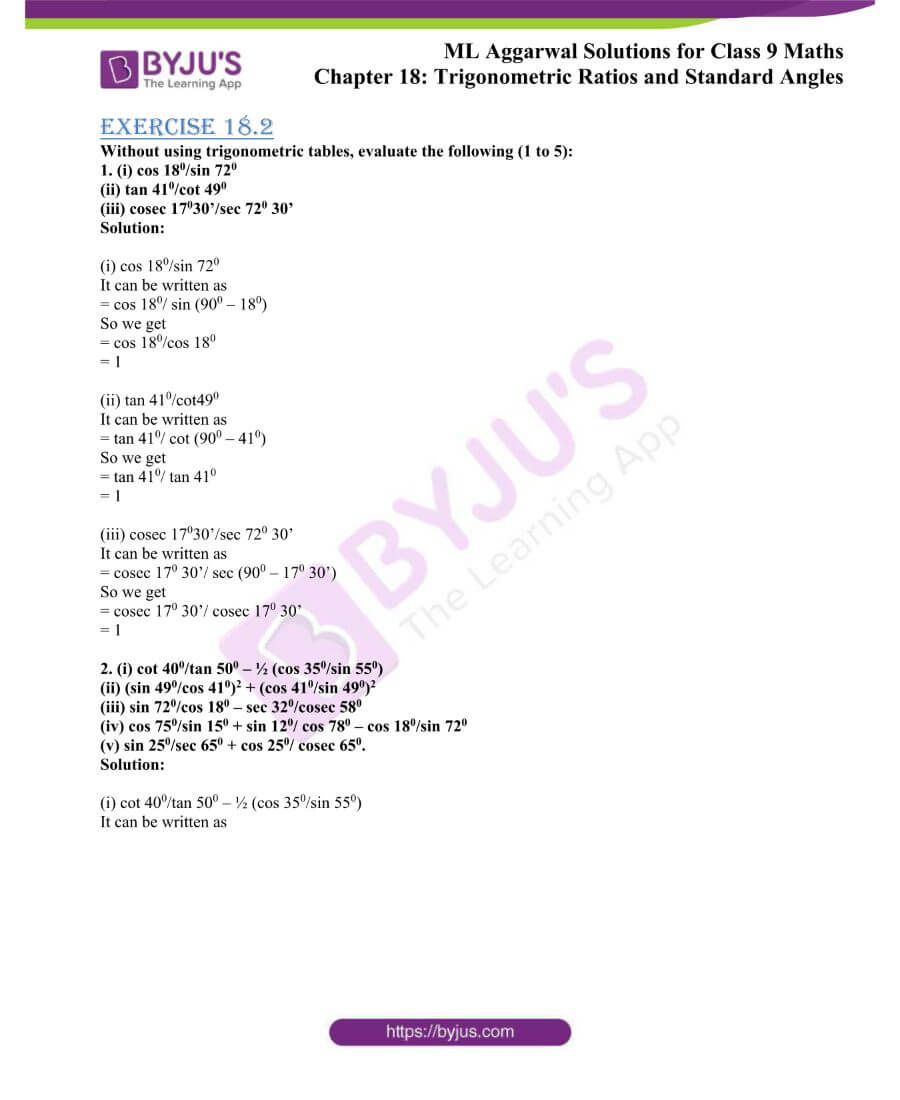 ML Aggarwal Solutions for Class 9 Maths Chapter 18 TR and Standard Angles 24