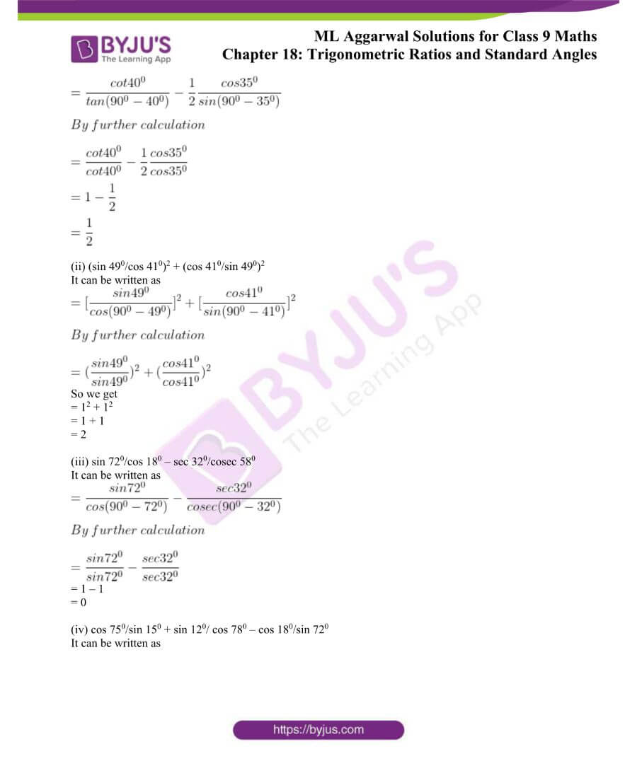 ML Aggarwal Solutions for Class 9 Maths Chapter 18 TR and Standard Angles 25