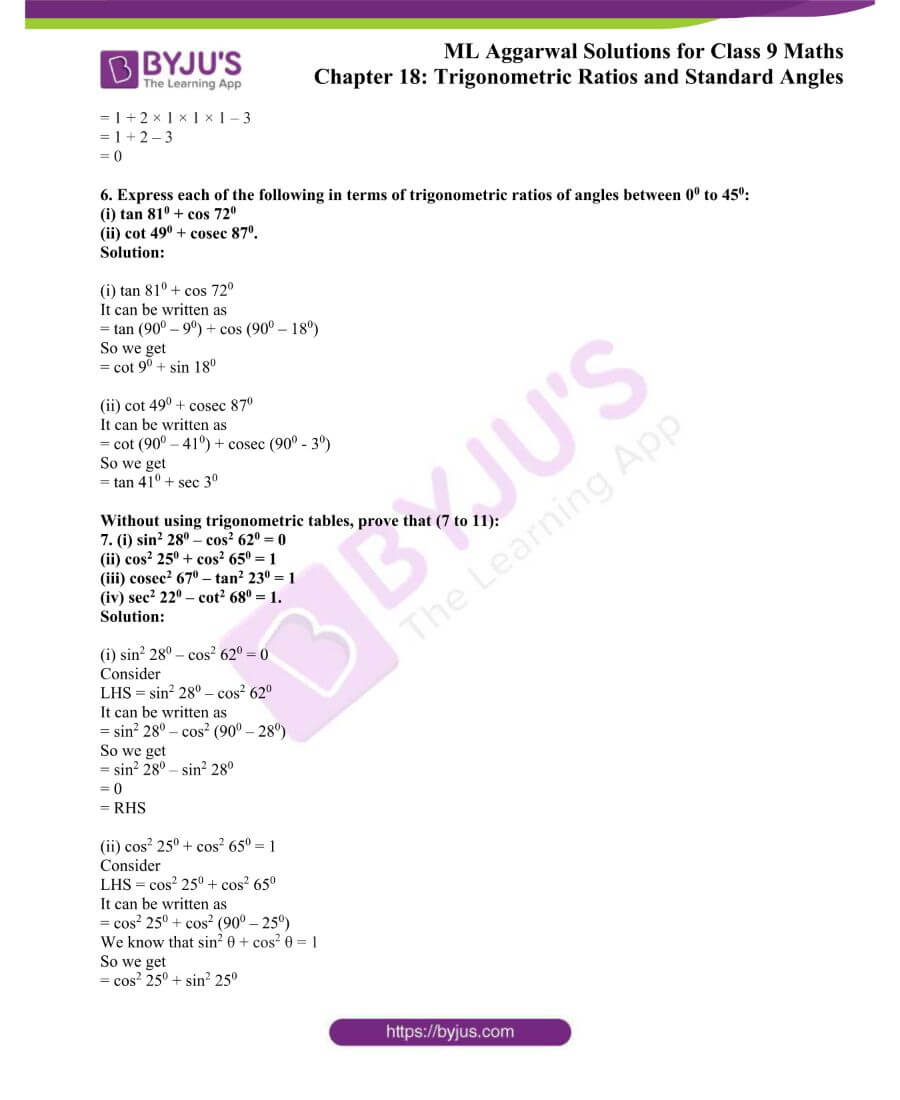 ML Aggarwal Solutions for Class 9 Maths Chapter 18 TR and Standard Angles 28
