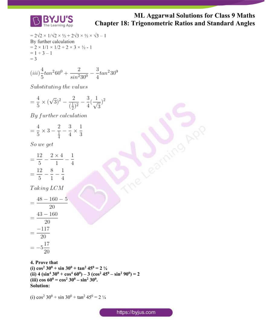 ML Aggarwal Solutions for Class 9 Maths Chapter 18 TR and Standard Angles 3
