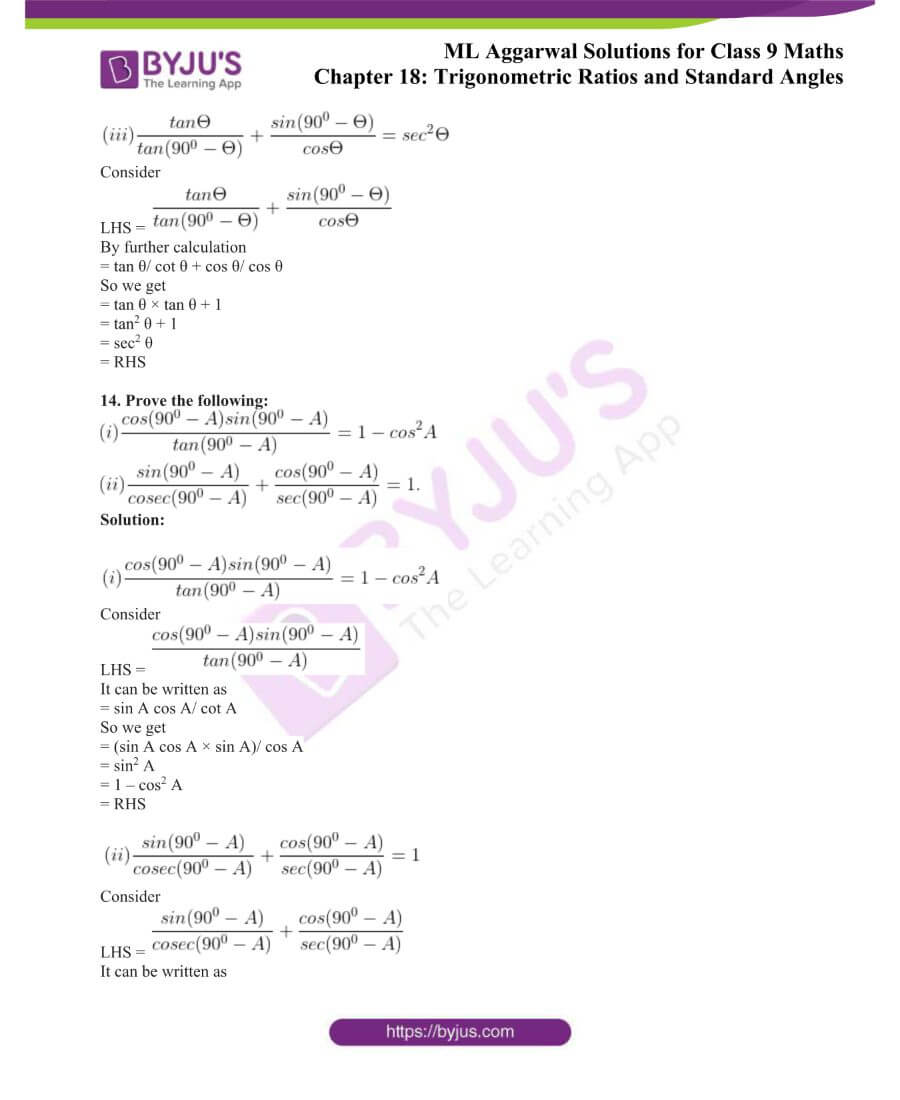 ML Aggarwal Solutions for Class 9 Maths Chapter 18 TR and Standard Angles 34