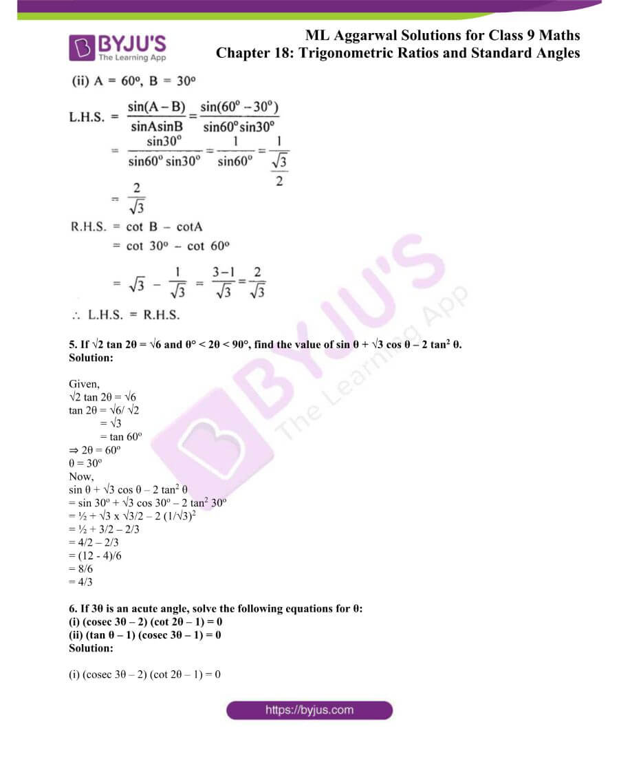 ML Aggarwal Solutions for Class 9 Maths Chapter 18 TR and Standard Angles 42