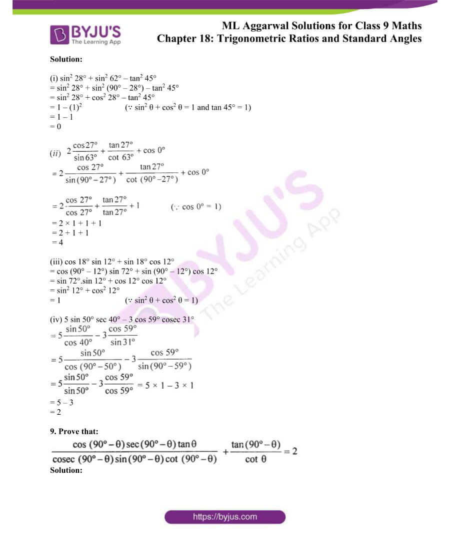 ML Aggarwal Solutions for Class 9 Maths Chapter 18 TR and Standard Angles 44
